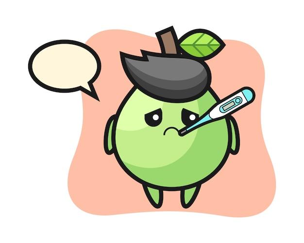 Personaggio mascotte guava con condizione di febbre, stile carino per maglietta, adesivo, elemento logo