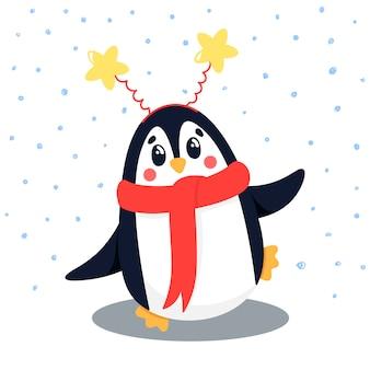 Personaggio, mascotte pinguino, nevicate. animale selvatico al polo nord, un pinguino in una sciarpa e un bordo con stelle.