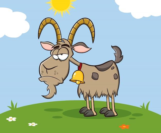 Personaggio mascotte scontroso del fumetto della capra su un prato. illustrazione