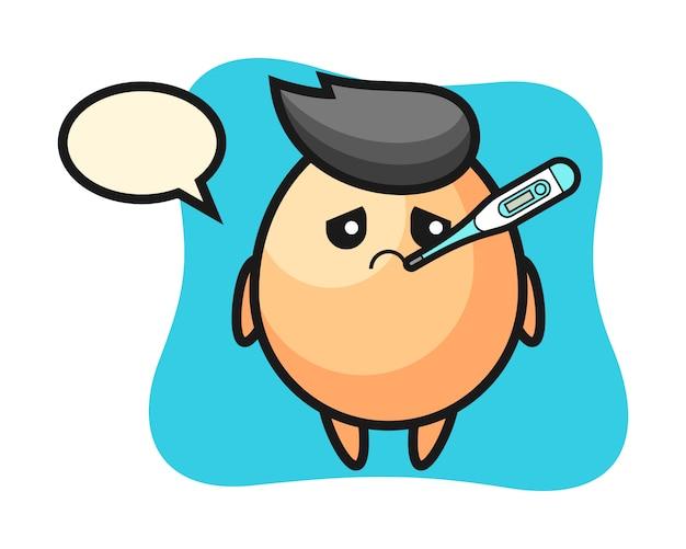 Personaggio mascotte uovo con condizione di febbre, stile carino per maglietta, adesivo, elemento logo