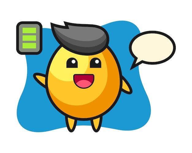 Personaggio mascotte uovo d'oro con gesto energico, design in stile carino