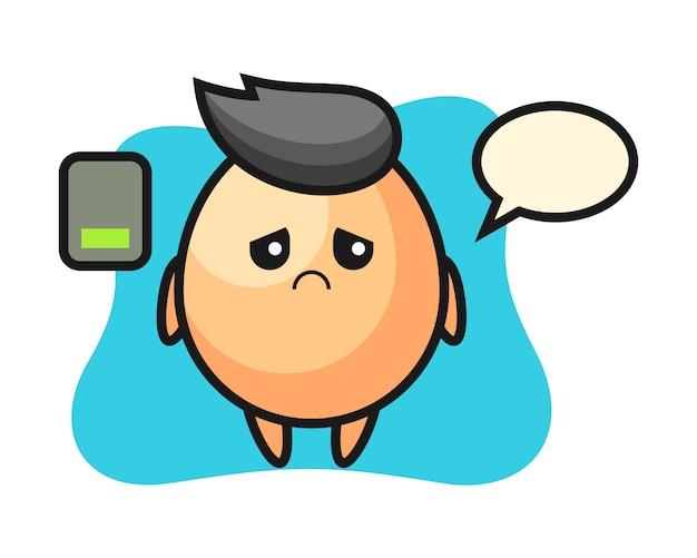 Personaggio mascotte uovo facendo un gesto stanco, stile carino per t-shirt, adesivo, elemento logo