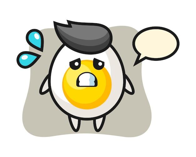 Personaggio mascotte uovo sodo con gesto impaurito