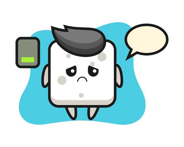 Personaggio mascotte zolletta di zucchero che fa un gesto stanco, stile carino per t-shirt, adesivo, elemento logo