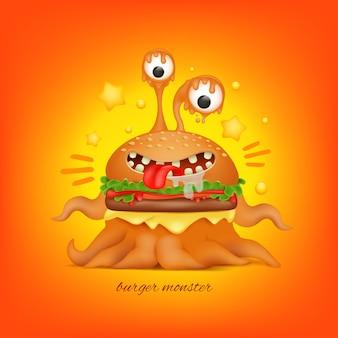 Personaggio mutante di hamburger di polpo mostro divertente del fumetto con tentacoli
