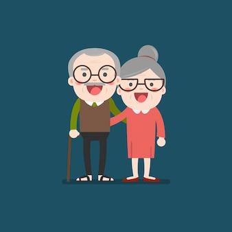 Personaggio piatto delle coppie di età maggiore in pensione nonno e nonna.
