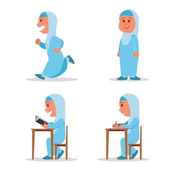 Personaggio piatto ragazza musulmana scuola bambino