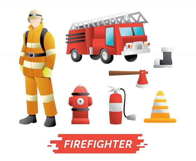 Personaggio pompiere e set di elementi