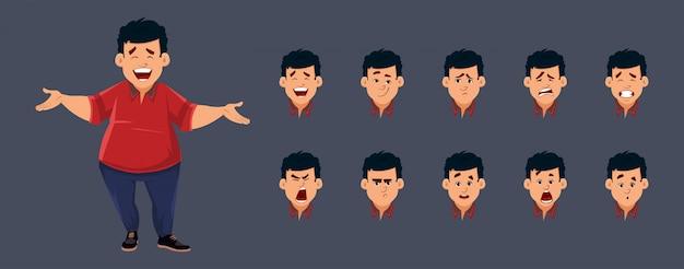 Personaggio ragazzo grasso con varie emozioni facciali. personaggio per animazioni personalizzate.