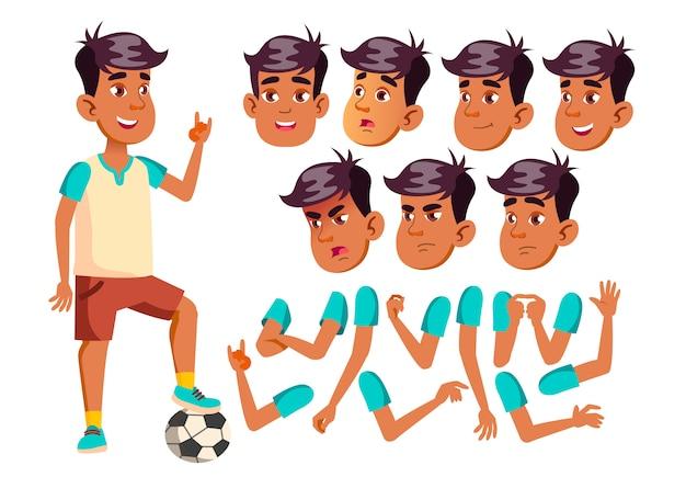 Personaggio ragazzo teenager. arabo. costruttore di creazione per l'animazione. affronta le emozioni, le mani.