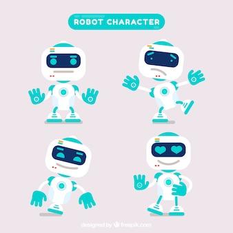 Personaggio robot piatto con collezione di pose diverse
