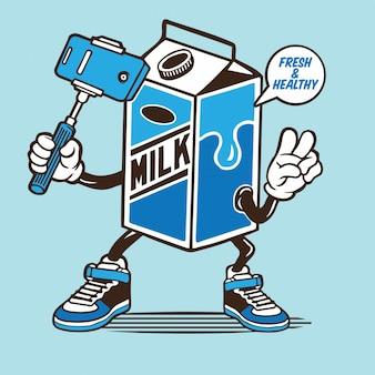 Personaggio selfie cartone scatola di latte