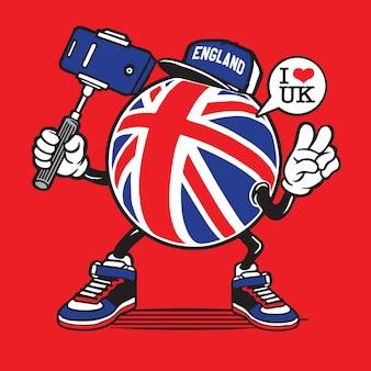 Personaggio selfie di union jack england