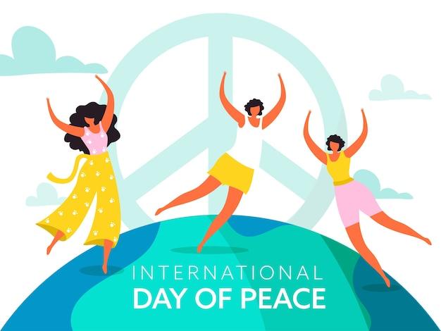 Personaggio senza volto di giovani ragazze che ballano o saltano su sfondo bianco per la giornata internazionale della pace.