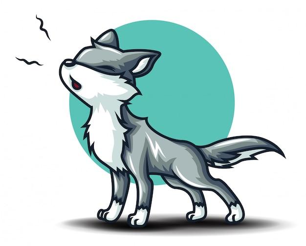 Personaggio simpatico cartone animato lupo. concetto di cartone animato animale.
