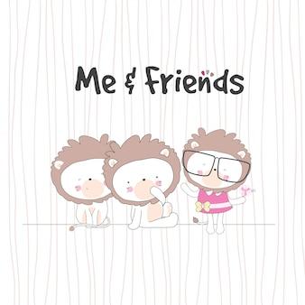 Personaggio simpatico leone bambino con gli amici
