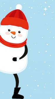 Personaggio simpatico pupazzo di neve di buon natale