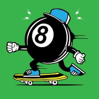 Personaggio skateboard 8th ball skater