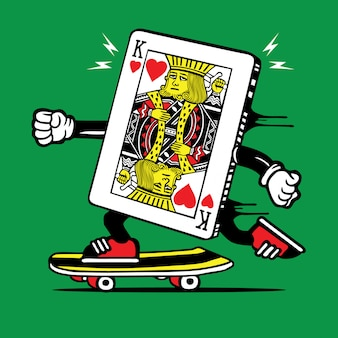 Personaggio skateboard king poker card skater