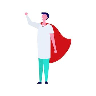 Personaggio super dottore. illustrazione professionale in stile.