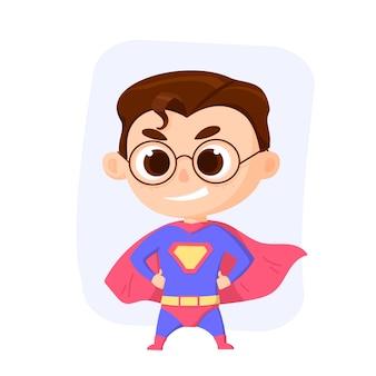 Personaggio superboy. superkid. illustrazione vettoriale rosso e blu