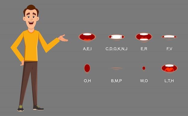 Personaggio uomo casual con sincronizzazione labbra impostata per design, movimento e animazione