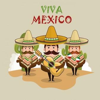 Personaggio uomo messicano con icone di cultura