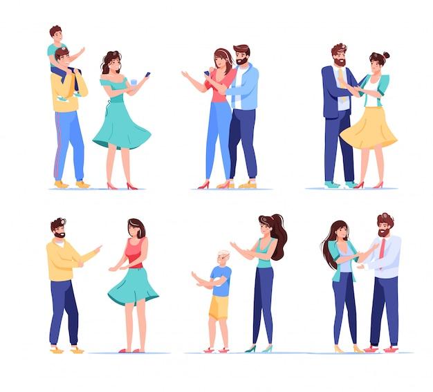Personaggio utente del dispositivo digitale di persone. coppia di innamorati, moglie marito sposato, figli genitori in possesso di telefono cellulare per lo shopping, comunicazione wireless, condivisione di notizie. insieme isolato su bianco