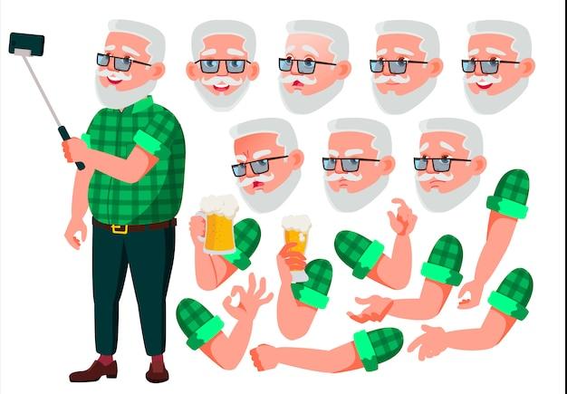 Personaggio vecchio. europeo. costruttore di creazione per l'animazione. affronta le emozioni, le mani.