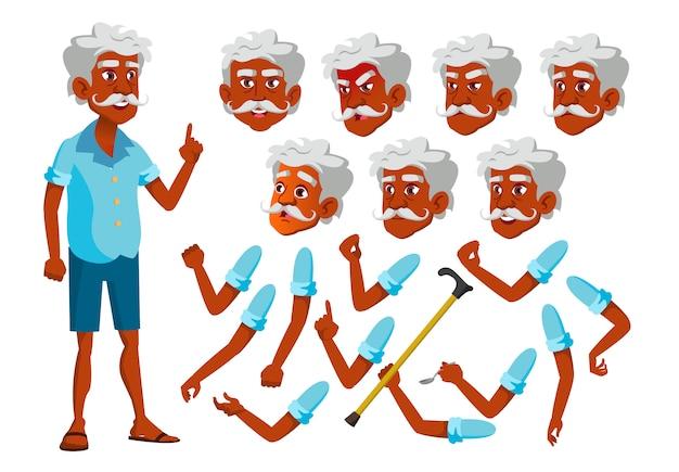 Personaggio vecchio. indiano. costruttore di creazione per l'animazione. affronta le emozioni, le mani.