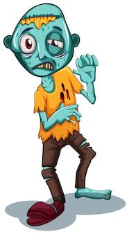 Personaggio zombie su sfondo bianco
