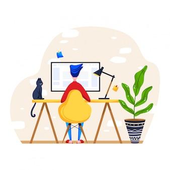 Personal computer del lavoro del personaggio maschile, sedia di seduta dell'uomo sul posto di lavoro, area del desktop isolata su bianco, illustrazione del fumetto.