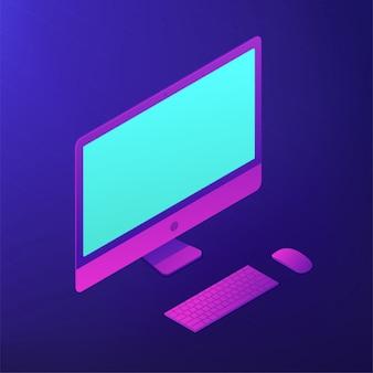 Personal computer isometrico. illustrazione 3d