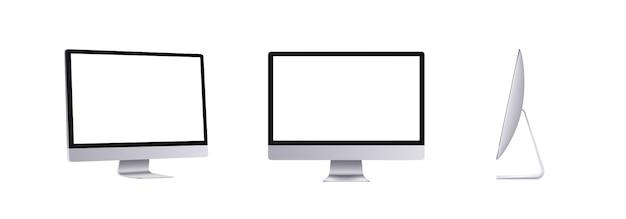 Personal computer nella vista frontale, laterale e angolare. monitor piatto moderno argento. insieme vuoto del dispositivo dello schermo, illustrazione 3d.