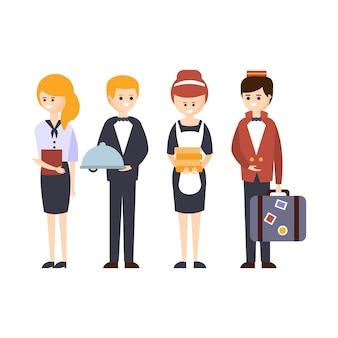 Personale alberghiero, cameriere, fattorino, amministratore e cameriera hotel a tema primitive cartoon illustration