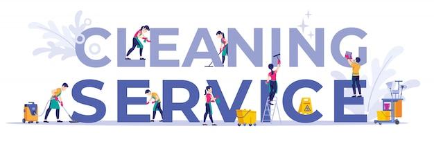 Personale della compagnia di pulizie diverse pose, per pagina web, banner, presentazione, social media, documenti, carte, poster.