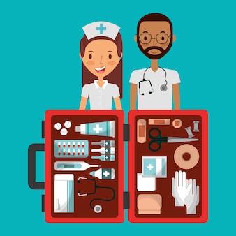 Personale medico uomo e donna con kit di primo soccorso aperto