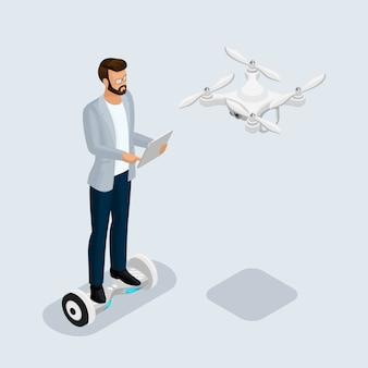Persone 3d isometriche, quadricottero drone, gioco sevremennaya, uomo d'affari isometrici.