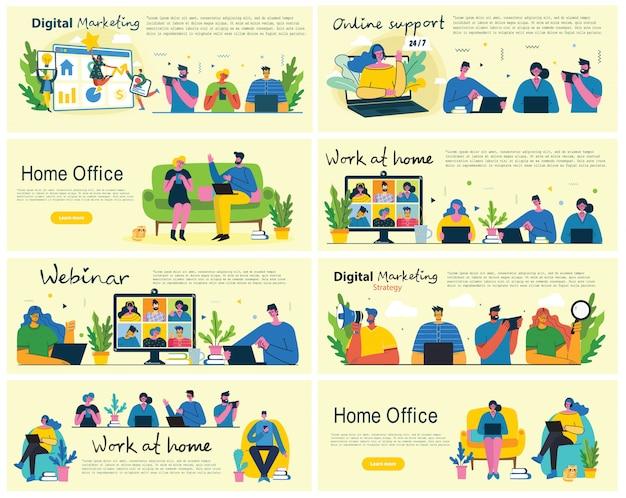 Persone a casa in quarantena. lavorare a casa, spazio di coworking, webinar, illustrazione di stile piano concetto di videoconferenza