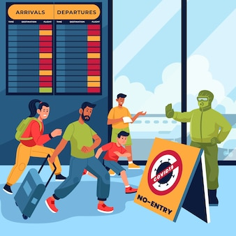 Persone all'aeroporto chiuso