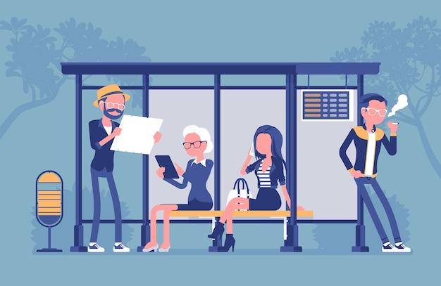 Persone alla fermata dell'autobus in design piatto