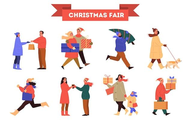 Persone alla fiera di natale illustrazione set. persone in abiti invernali caldi che comprano regali di natale, camminano e si divertono all'aperto.