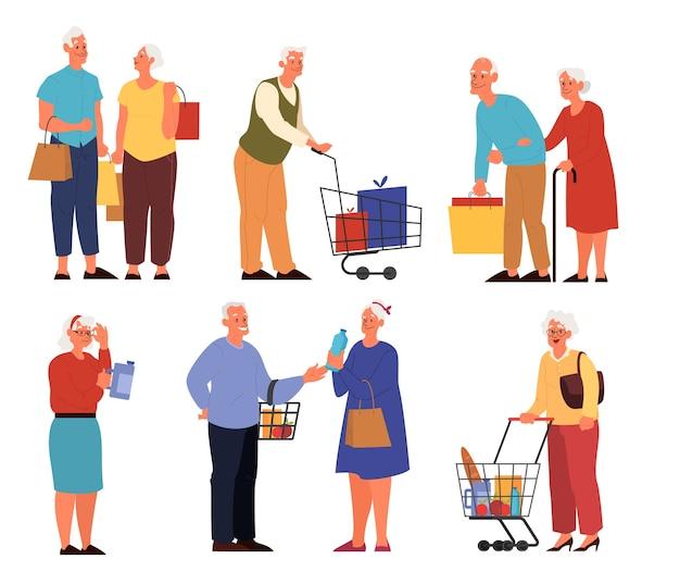 Persone anziane al supermercato con carrelli trasportando frutta, verdura e altri alimenti. nonna e nonno al negozio di alimentari.
