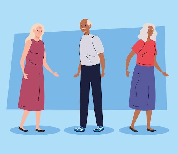 Persone anziane che fanno diverse attività e hobby su sfondo blu illustrazione