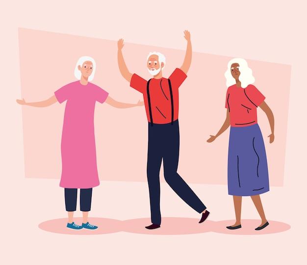 Persone anziane che fanno diverse attività e illustrazione di hobby