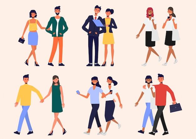 Persone astratte con stile di vita di coppia. comunità di persone nelle tendenze.