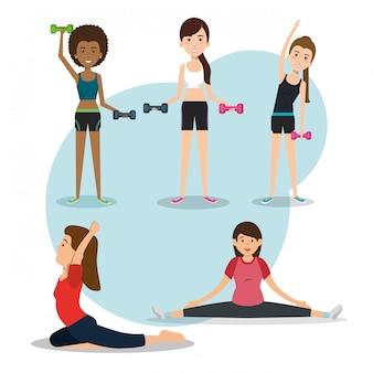 Persone atletiche che praticano esercizi fisici