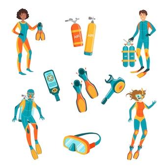 Persone, attrezzatura subacquea e apnea