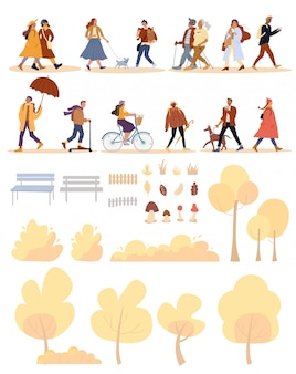 Persone, cane, parco naturale oggetto autunno enorme set