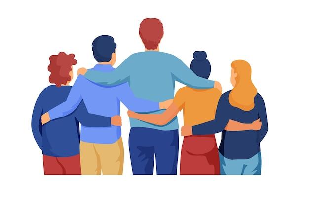 Persone che abbracciano insieme l'evento della giornata giovanile piatta